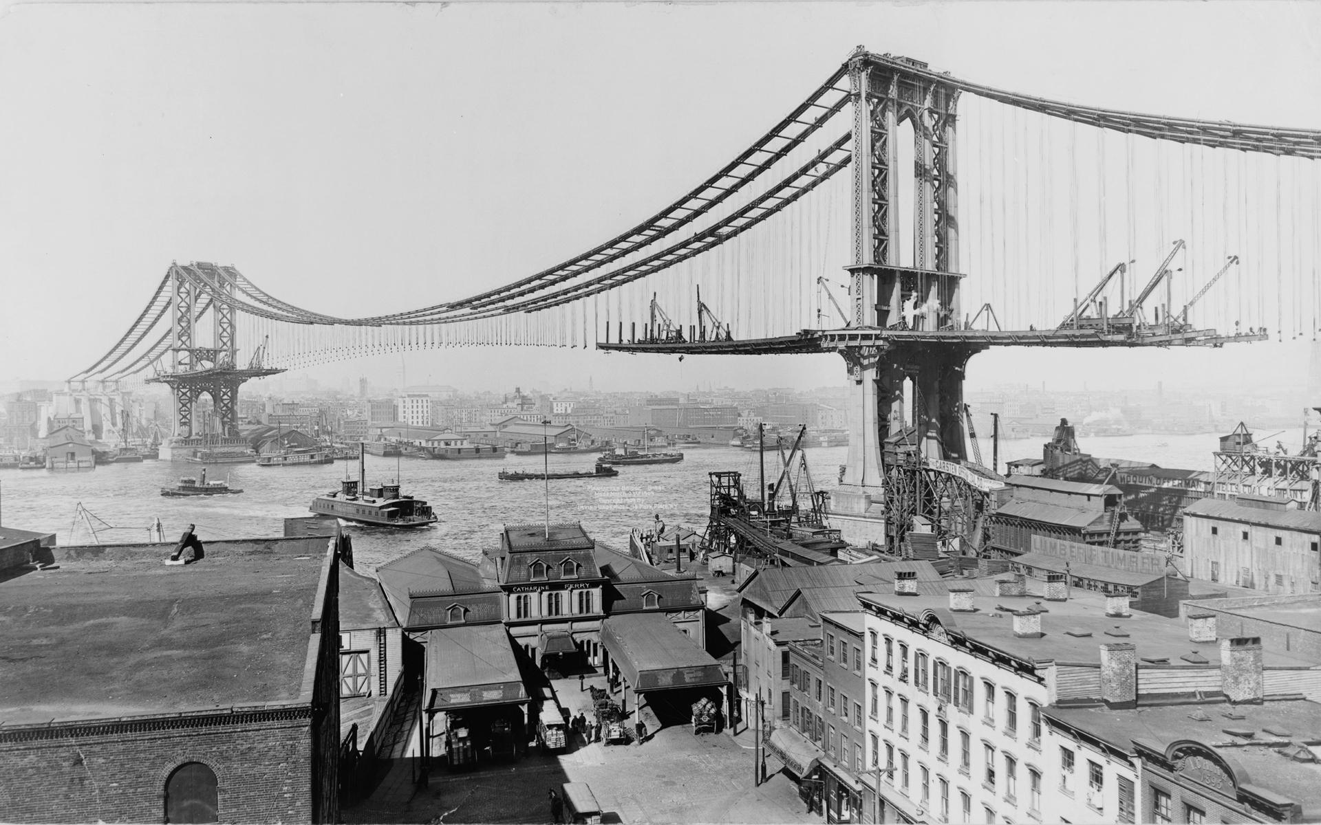 Black White Photo Of The Manhattan Bridge Under Construction Photographer Unknown