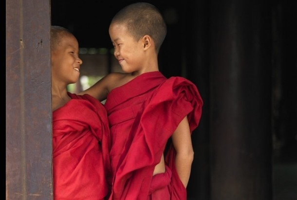 Two young Buddhists monks
