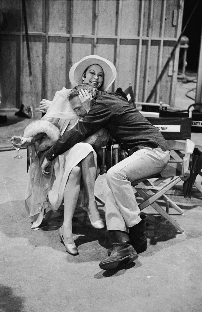 Ava Gardner and Paul Newman on the set of The Life and Times of Judge Roy Bean, 1972.