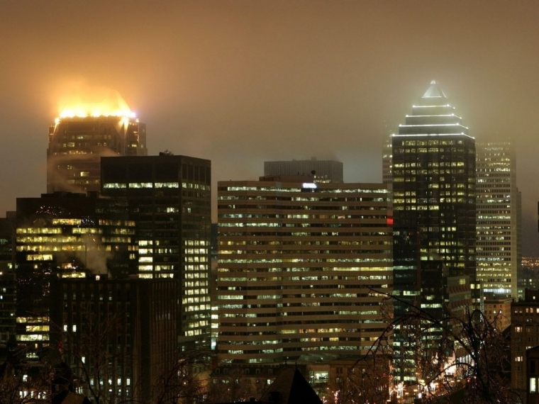 Downtown Montreal, Quebec Skyline at night.