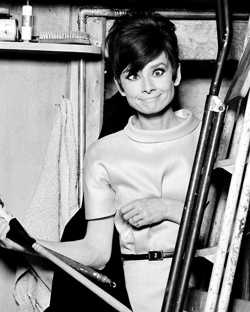 Audrey Hepburn on the set of How To Steal A Million.