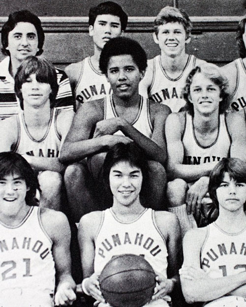 Barack Obama with his basketball team at the Punahou School in 1977.