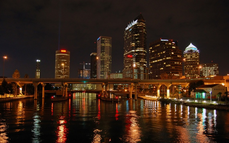 Tampa Bay, Florida at night.