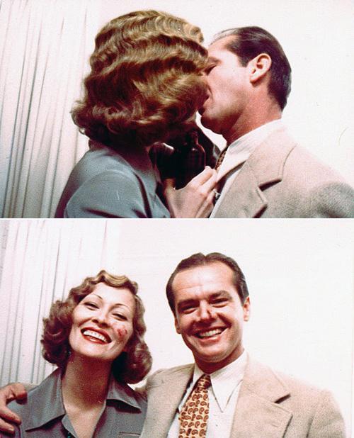 Faye Dunaway and Jack Nicholson practicing the kiss scene in Chinatown.