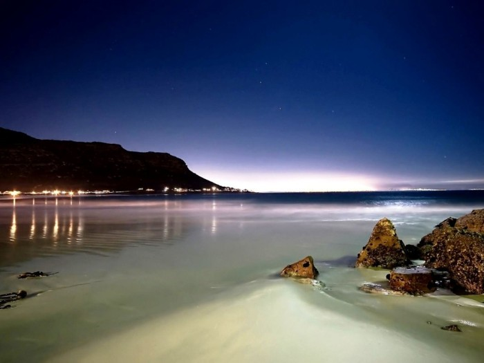 Beach at night.