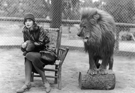 Greta Garbo and the MGM lion.