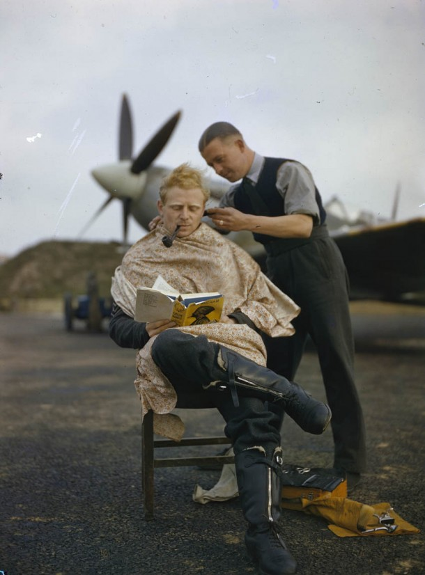 RAF Pilot getting his haircut.