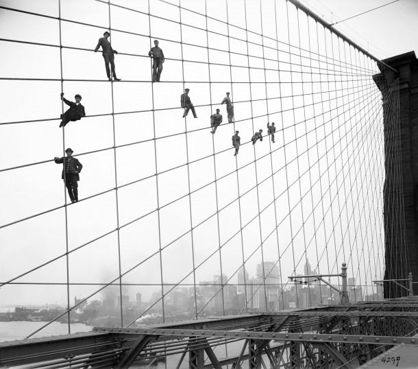 Painters on Brooklyn Bridge, circa 1914-1918.