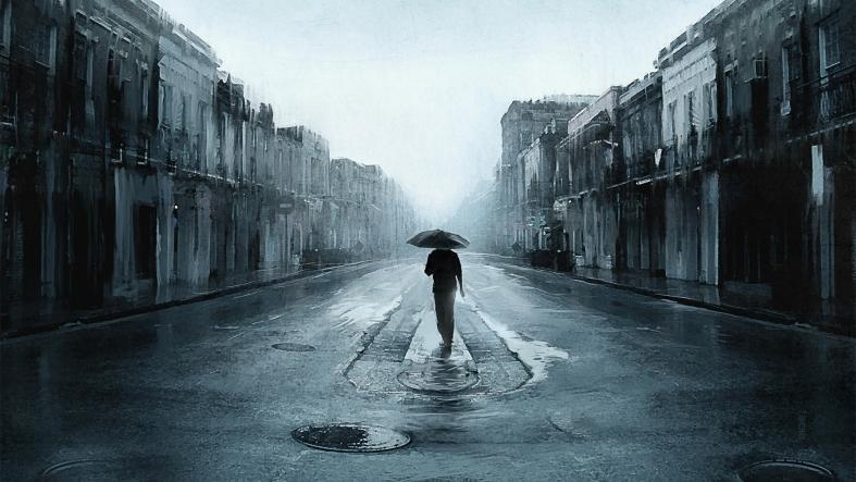 Walling in the rain.