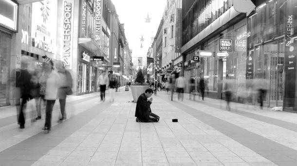 A man begging in Stockholm.