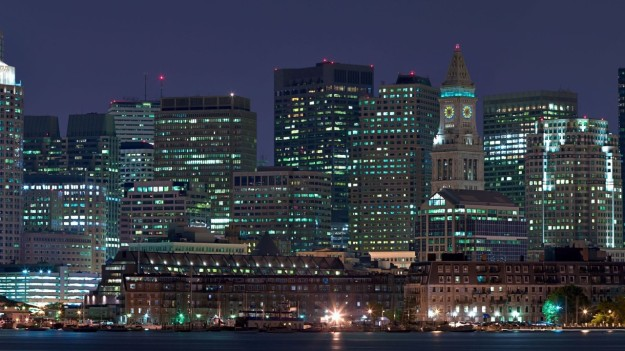 Boston, Massachusetts skyline at night.