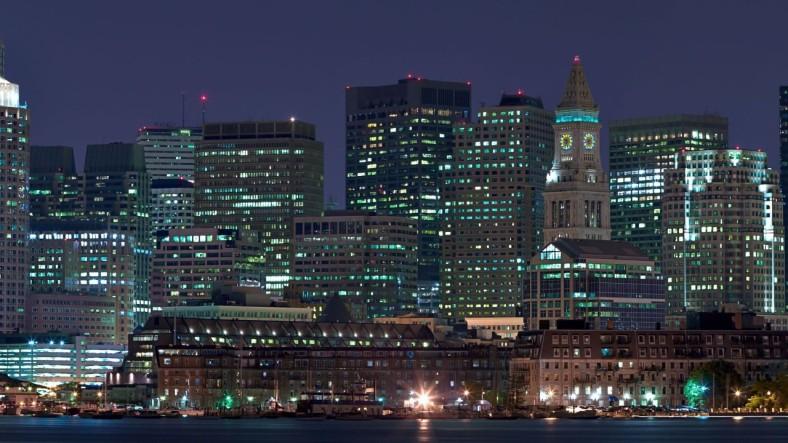 Boston, Massachusetts skyline at night.