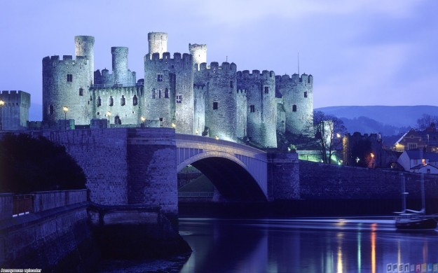 Castle in a blue light