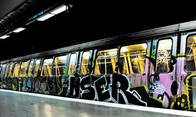 City subway train with graffiti