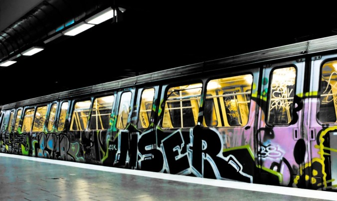 City subway train with graffiti