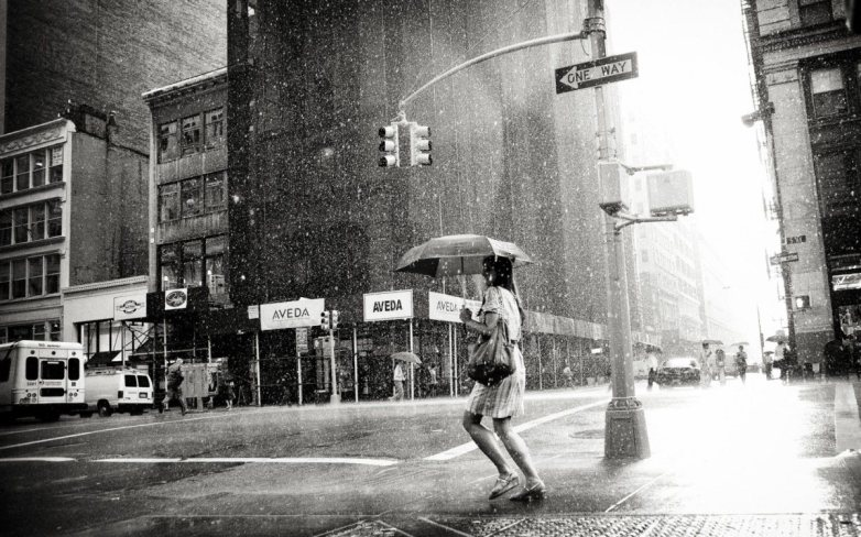 Girl walking in the rain.