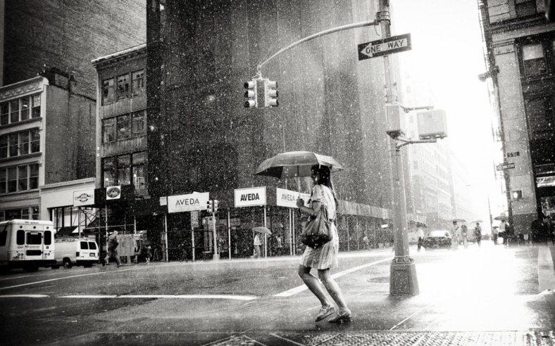 Girl walking in the rain.