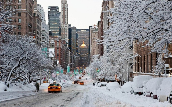 Snow covered street in New York City