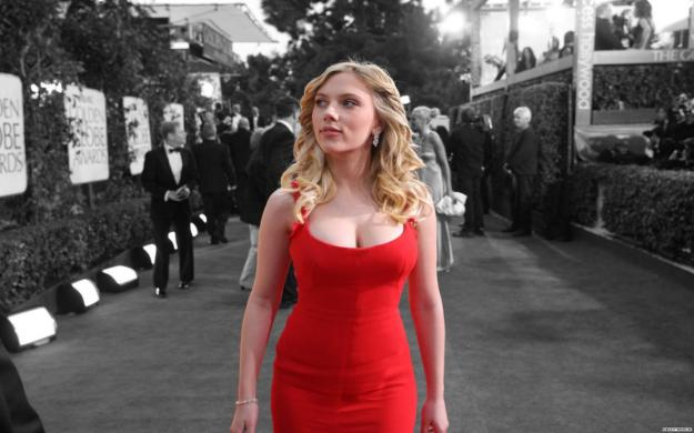Scarlett Johansson in red dress.