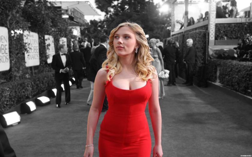 Scarlett Johansson in red dress.