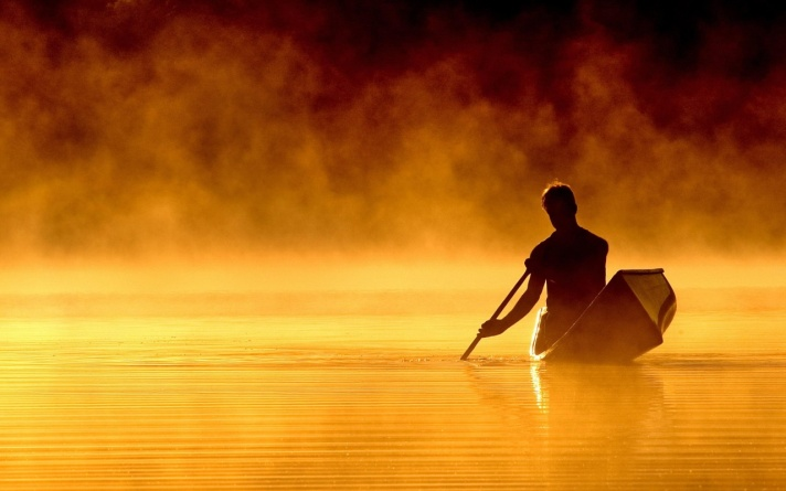 Canoing at sunset