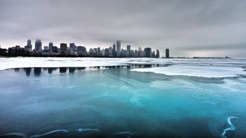 Chicago, Illinois seen from partially frozen Lake Michigan.