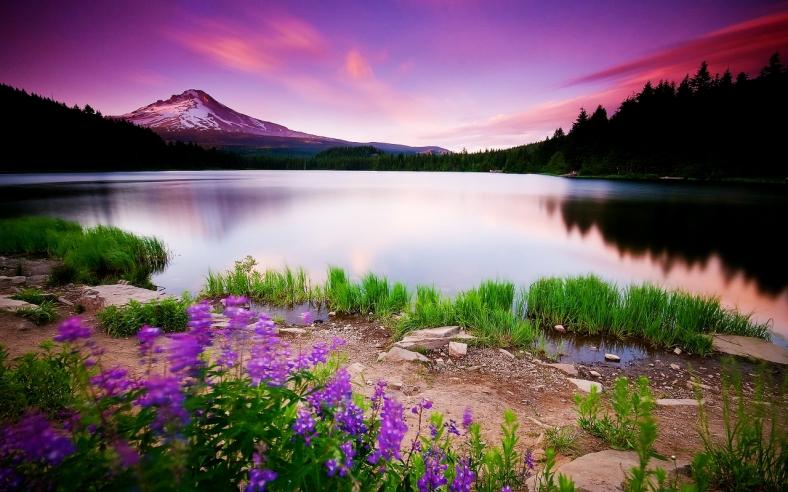 Mountain lake and sunset