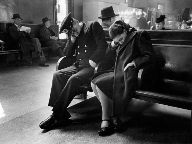 Sleeping couple in New York Bus Terminal