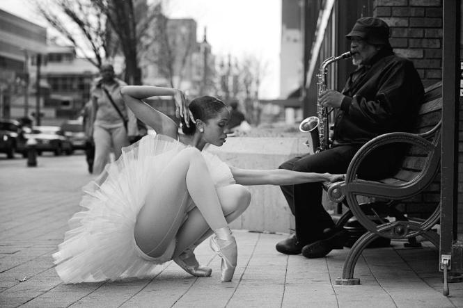 Ballerina dancer and sax player