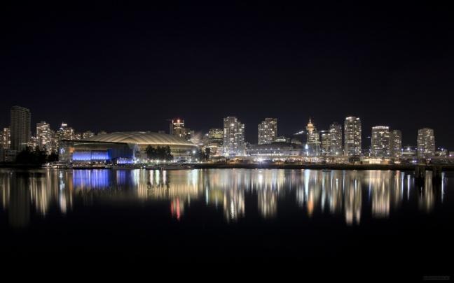 Vancouver, British Columbia skyline at night.