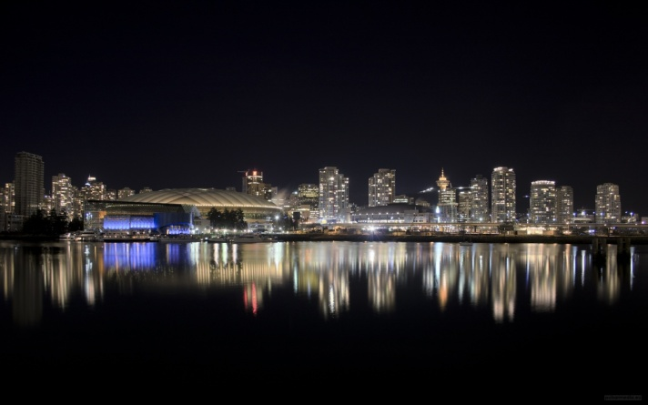 Vancouver, British Columbia skyline at night.
