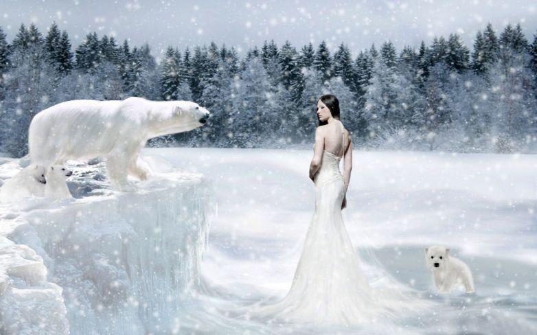 Lady in white. 3D fantasy digital art.