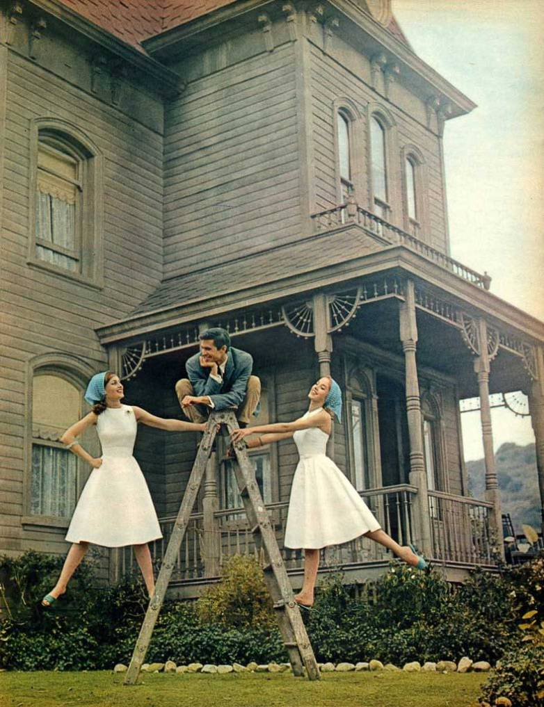 Anthony Perkins on the set of Psycho.