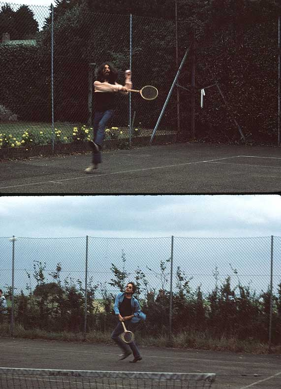 George Harrison playing tennis with Bob Dylan on the Isle of Wight in 1969.