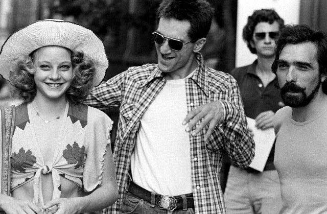 Jodie Foster, Robert De Niro and Martin Scorsese on the set of Taxi Driver.