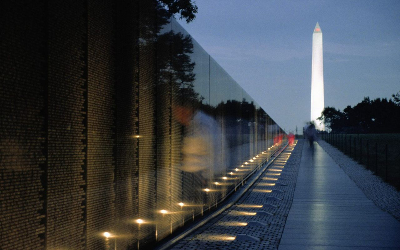 Vietnam Memorial Wall And Washington Monument A