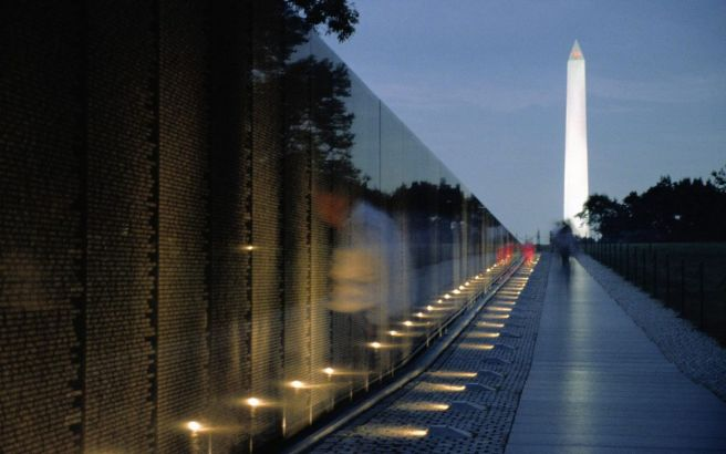 The Vietnam Memorial Wall and Washington Monument