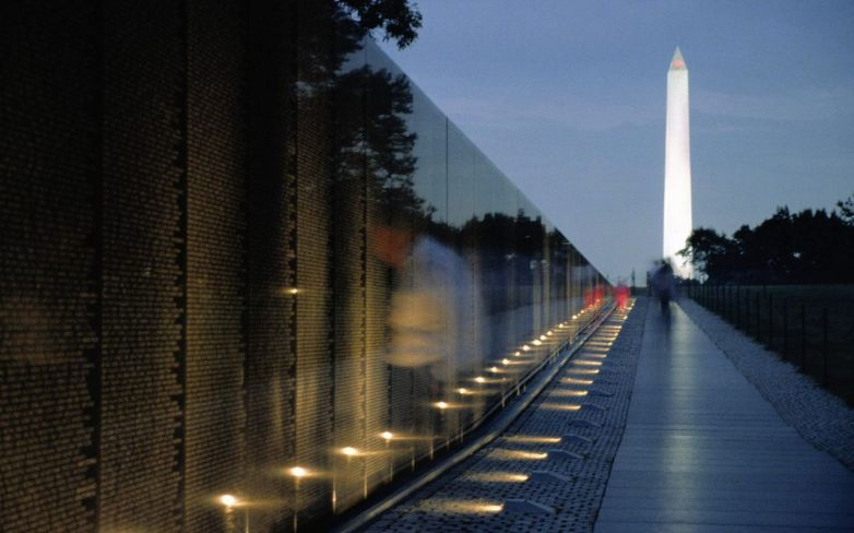 The Vietnam Memorial Wall and Washington Monument