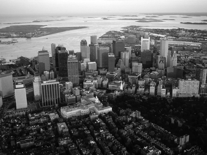 Boston, Massachusetts - showing the state house, downtown, the financial district, Beacon Hill and South Boston.