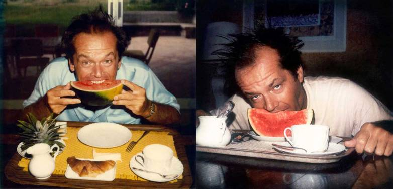 Jack Nicholson eating watermelon.