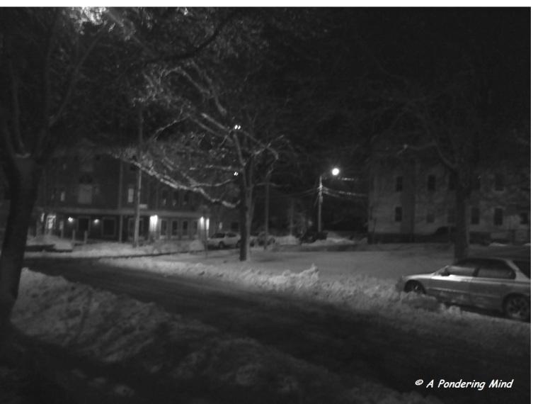 Night photo in black & white.