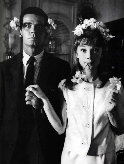 James Garner and Audrey Hepburn on the set of The Children's Hour.