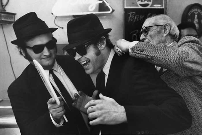 John Belushi and Dan Aykroyd on the set of The Blues Brothers.