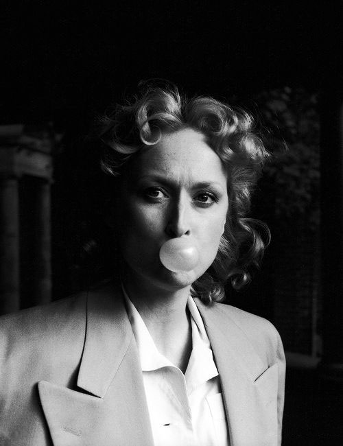Meryl Streep blowing a bubblegum bubble on the set of Sophie's Choice.