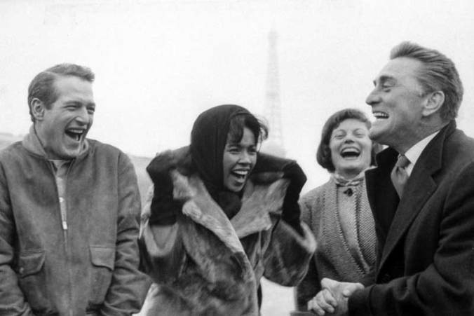 Paul Newman, Diahann Carroll and Kirk Douglas on the set of Paris Blues.