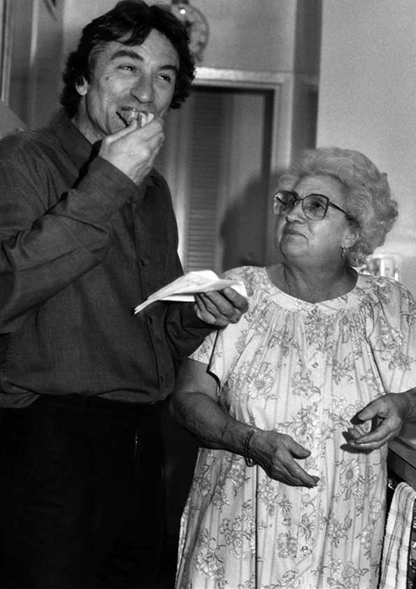Robert De Niro and Catherine Scorsese (Martin Scorsese's mom).