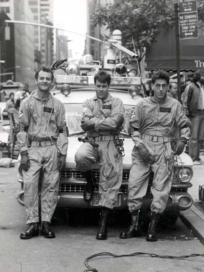Bill Murray, Dan Aykroyd and Harold Ramis on the set of Ghostbusters.
