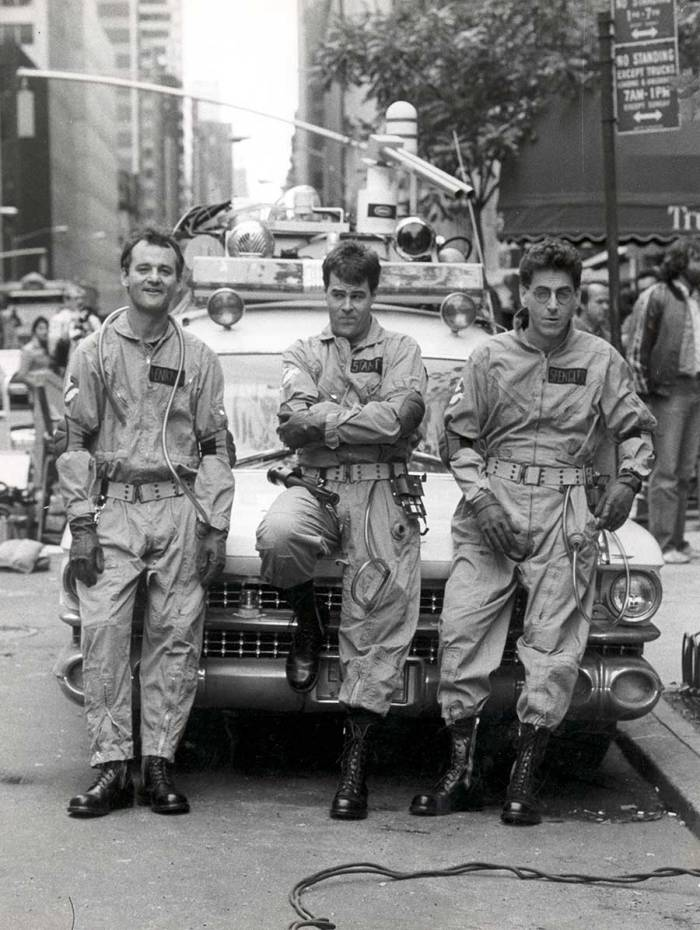 Bill Murray, Dan Aykroyd and Harold Ramis on the set of Ghostbusters.