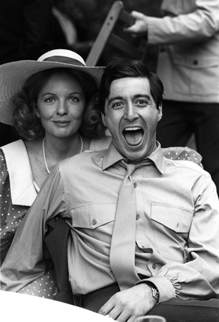 Diane Keaton and Al Pacino during the filming of The Godfather.