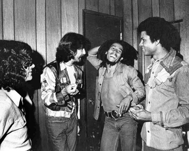 George Harrison and Bob Marley backstage at The Roxy, Los Angeles, 1975.